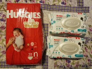 Huggies Little Snugglers Newborn Diapers & Simply Clean Wipes for Sale in Yonkers, NY