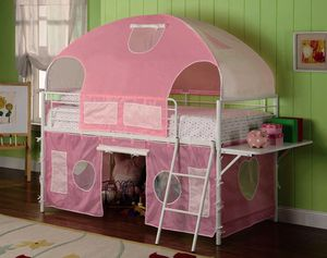 White And Pink Tent Twin Bunk Bed $320.00 for Sale in Seattle, WA