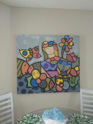 Original Painting with acrylic. From Brazilian famous artist. Walter de Sousa. Pop style like Romero Brito. for Sale in Tampa, FL