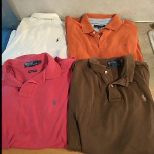 Men Polo by ralph lauren Lg 3shirts 1 tommy Hilfiger 3 polo and 1 long sleeve under shirt for Sale in Huttonsville, WV