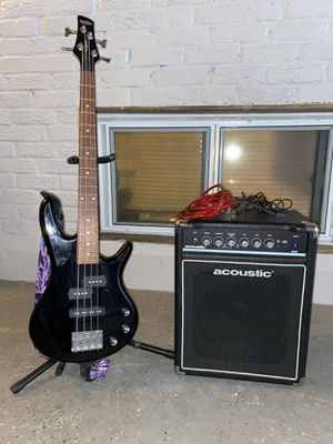 Ibanez GSRM20 Mikro Short-Scale Bass Guitar Black and Acoustic B15 Bass Amp for Sale in Takoma Park, MD