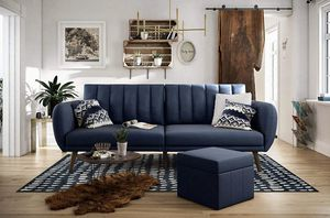 Novogratz Brittany Sofa Futon - Navy Linen for Sale in Riverview, FL