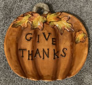 """HOLIDAY AUTUMN FALL THANKSGIVING """"GIVE THANKS"""" PUMPKIN BOWL PLATTER SERVER PLATE DISH HOME DECOR ACCENT for Sale in Chapel Hill, NC"""