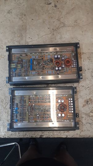 To Precision Power PPI pc450 and a PC 2100 vintage car audio amplifier amp Subs mids 2 channel and 4 Channel with plexiglass backs for Sale in Pompano Beach, FL
