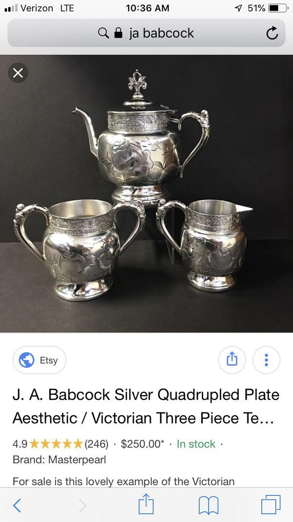 J.a. Babcock silver set vintage