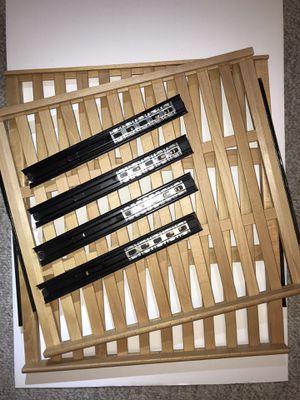 Set of wooden slat sliding shelves with mounting hardware for Sale in Belmont, CA