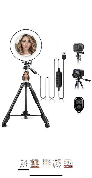 """10"""" Ring Light with Stand and Phone Holder with 52"""" Extendable Tripod Stand for Makeup/Photography/Live Stream/Video Recording, Compatible with Phone for Sale in Lancaster, CA"""