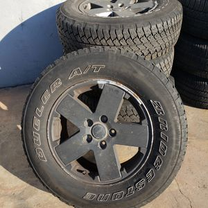 JEEP WRANGLER WHEELS AND TIRES Bridgestone Dueler A/T 255/70R18 112S for Sale in Canton, MA