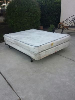 Queen Size Bed, Mattress, Box Spring, and Metal Frame for Sale in Clovis, CA