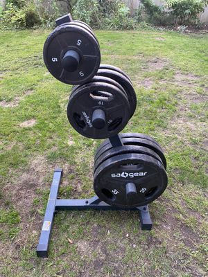 Olympic weight stand / weight tree for Olympic weights for Sale in Snohomish, WA