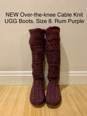 NEW Over-the-knee Cable Knit UGG Boots. Size 8. Rum Purple for Sale in Santa Monica, CA