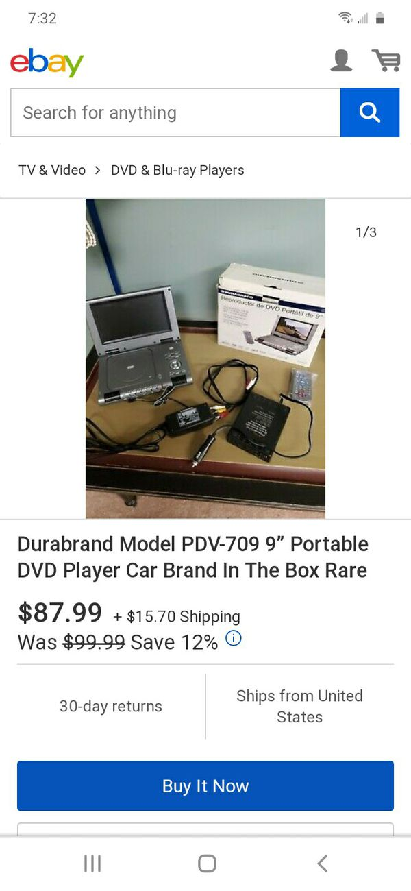 """Portable DVD player 9"""",Durabrand in box.new"""
