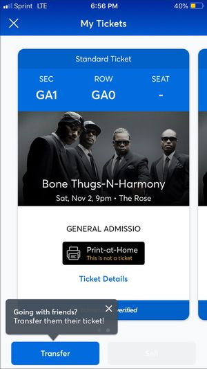 Two Tickets to Bone Thugz for Sale in Monrovia, CA