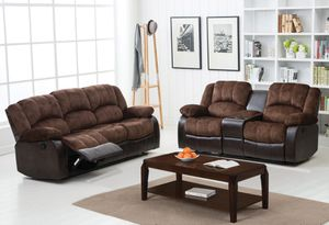 Brown microfiber reclining sofa and loveseat for Sale in Chicago, IL