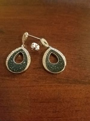 Blue turquoise and diamond stud earrings for Sale in Lititz, PA