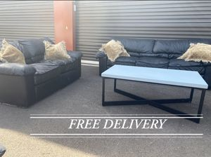 Faux leather Couch and Love Seat, table included for Sale in Sherwood, OR