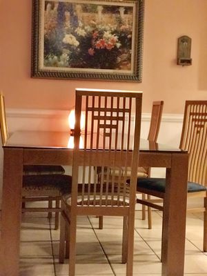 Dining room with six chairs and temper black glass for Sale in Silver Spring, MD
