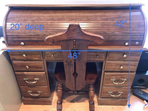 "Vintage/antique 48"" roll top desk & chair"