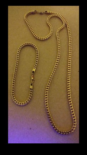 $60...14k gold plated 3mm Franco Link chain and bracelet.....🌴🌟🌠💯 for Sale in Hollywood, FL