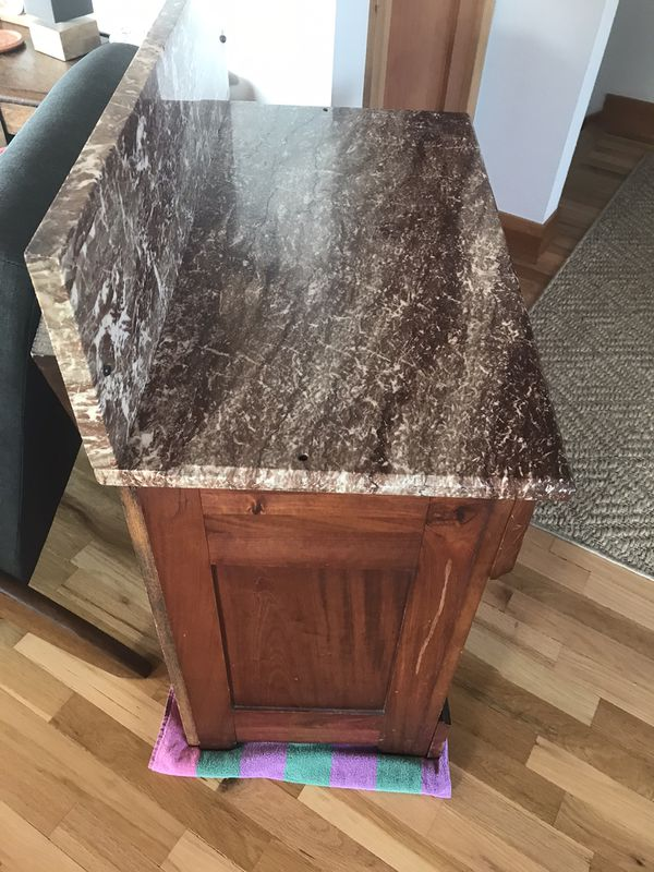 Antique Marble Top Sideboard Cabinet