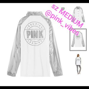NWT VS PINK M Snap Silver Coaches Jacket for Sale in Kalamazoo, MI
