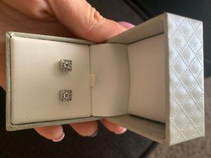 1/4 CTTW Genuine diamond sterling silver earrings for Sale in Whittier, CA