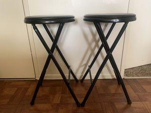 Pair black bar stools folding metal for Sale in Fullerton, CA