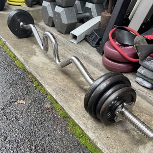 Cap EZ Curl Bar w/ 30 Lbs Weights for Sale in Seattle, WA