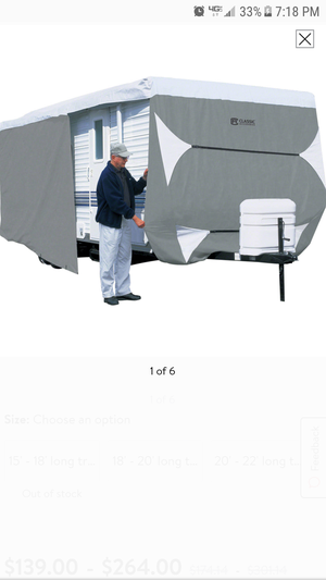 Never used. Still in box. Unable to use.Classic Accessories PolyPRO 3 Deluxe Travel Trailer RV Cover or Toy Hauler RV Cover, Grey / Snow White for Sale in Columbus, GA