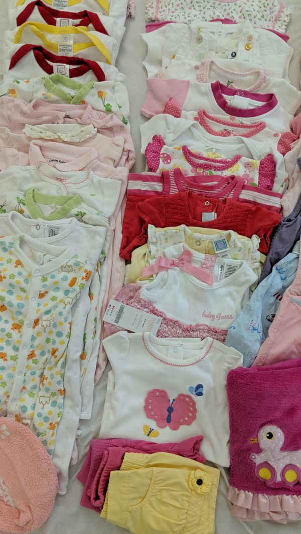 50 Pcs baby girl 3-6 months clothes pajamas onesuit fall winter