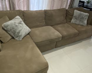 Microfiber Couch Beige PRICE REDUCTION for Sale in Hialeah,  FL