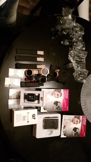 Samsung Galaxy 42mm Rose Gold Smartwatches, Q7 smartwatches, Tzumi wireless earbuds, Samsung Fit2 smartwatch, Black Samsung Gear Sport smart watch for Sale in Atlanta, GA