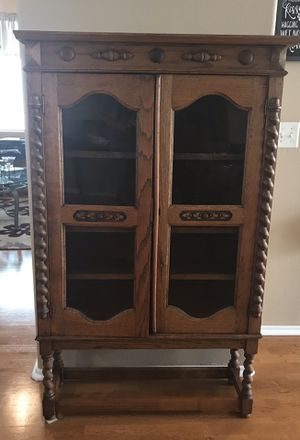 Oak Antique Bookcase with glass insert doors for Sale in Riverside, CA