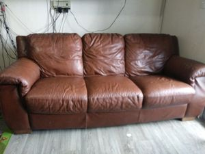 Comfortable Brown Leather Couch for Sale for Sale in Phoenix, AZ