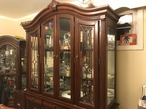 Reduced!!!! Cherry wood china cabinet/breakfront for Sale in Silver Spring, MD