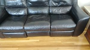 Black leather couch for Sale in Bethel Park, PA