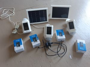 3 Ring wireless camras home security with extra batteries and solar charger for Sale in Middleburg, PA
