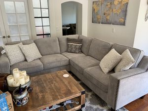 Costco sectional couch with nailheads for Sale in Costa Mesa, CA