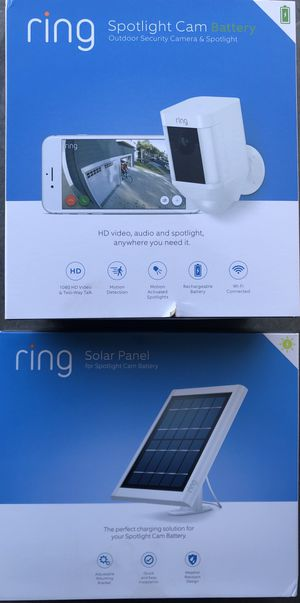 Ring spotlight camera with ring solar panel for Sale in Moreno Valley, CA