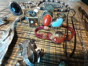 Jewelry Lot Boho Vintage Hippie Gypsy Rabbit Frog Butterfly Necklaces Rings Pins Stones Tiger Eye for Sale in O'Fallon, MO