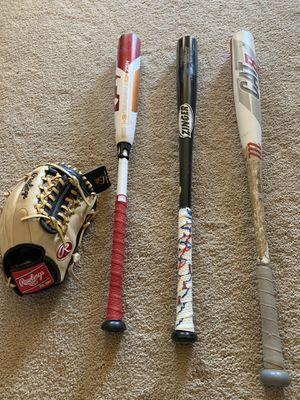 Baseball bats and glove for Sale in Chandler, AZ