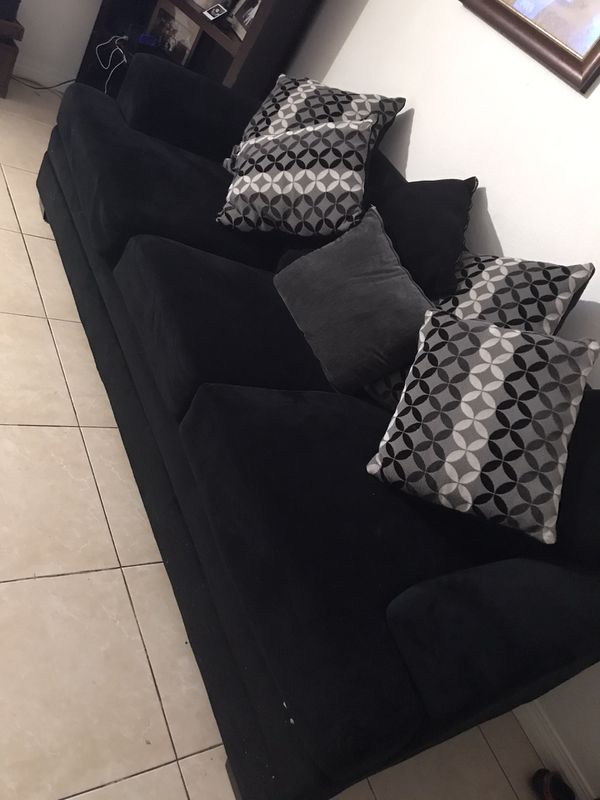 Black suede Love seat and soda
