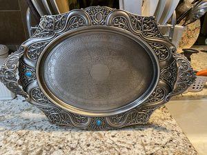 Elegant silver serving tray for Sale in Laguna Niguel, CA