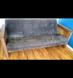 """Futon, Grey, Folding Wood Frame, 36"""" x 42"""" x 86"""" for Sale in Brooklyn,  NY"""