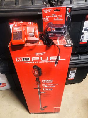 Milwaukee M18fuel string trimmer with 5.0 battery an charger $200 Firm Absolutely No Less. for Sale in Wildomar, CA
