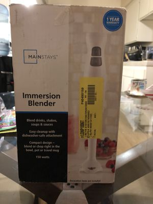 Mainstays Immersion Blender - White - 150 Watts - Blend or Chop NIB for Sale in Riverside, CA