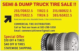 Semi Truck Tire Sale! Drive, Trailer, Steer and Logger tires at great prices! for Sale in Portland, OR