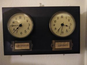 Antique Los Angeles /London double clock wood framed Timepiece for Sale in Long Beach, CA