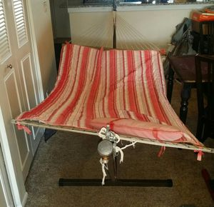 Hammock with metal base that breaks down easily to fit in car, no tools needed to put together. Too big for my patio. for Sale in Deerfield Beach, FL