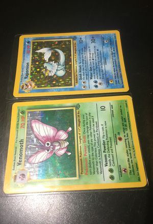 Rare, Collectible Original Pokemon Cards from 1999 Jungle Set- Both Holographic Vaporeon and Venomoth! for Sale in Guilford, CT
